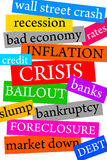 Financial crisis. Overview of newspaper topics concerning the worldwide financial crisis Stock Images