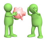 Financial crisis. Conceptual image - financial crisis. Two puppets with empty piggy bank Stock Images