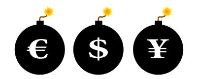 Financial crisis. Icons: Euro / Dollar / Yen bombs Royalty Free Stock Image