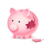 Financial Crisis. Illustration of broken piggy bank with spider web Stock Images
