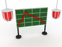 Financial crisis. Bad statistic. Red lamps. Financial crisis. 3d render Stock Photos