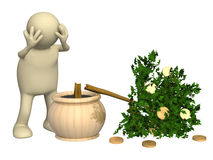 Financial crisis. 3d puppet and broken monetary tree Royalty Free Stock Photos