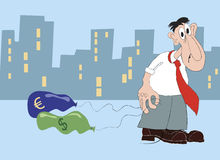 Financial crisis. Sad businessman with deflated currency balloons. Financial crisis Stock Photography