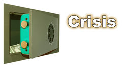 Financial crisis. The half-open mechanical safe with a two-dollar denomination Royalty Free Stock Photography