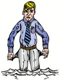 Financial crisis. This man lost everything - financial crisis vector Royalty Free Stock Image
