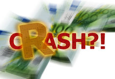 Financial crisis. Crash? on euro banknotes background Stock Photography
