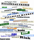 Financial crisis. Newspaper headlines about the financial crisis Royalty Free Stock Photo