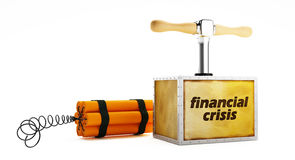 Financial crisis. Dynamite with a detonating fuse on a white background Royalty Free Stock Images