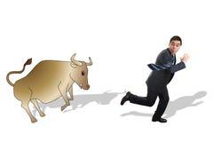 Financial Crisis. Broker runs away from bull Royalty Free Stock Photography