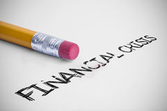 Financial crisis against pencil with an eraser Royalty Free Stock Photography