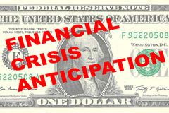 Financial Crisis Anticipation concept. Render illustration of FINANCIAL CRISIS ANTICIPATION title on One Dollar bill as a background Royalty Free Stock Photos
