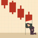 The financial crisis as a guillotine. vector illustration