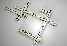 Financial crisis block puzzle 1. Financial crisis/credit crunch word puzzle pieces Royalty Free Stock Photos