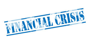Financial crisis blue stamp. On white background Royalty Free Stock Photos