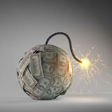 Financial crisis bomb. Financial crisis - an old bomb with a fuse made out of dollar bills Royalty Free Stock Photos