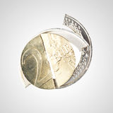 Financial crisis - broken Euro coin Stock Image
