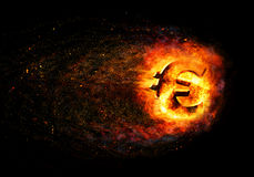 Financial crisis. Burning broken gold euro Stock Photo