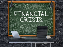 Financial Crisis on Chalkboard in the Office. 3D Stock Photos