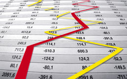 Financial crisis chart. Financial crisis news on a newspaper. chart and  statistics Stock Image