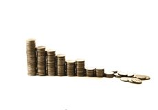 Financial crisis. collapse of investment. As diminished money piles Royalty Free Stock Photo