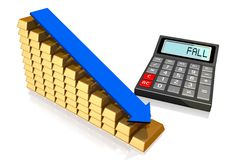 Financial crisis concept. 3D calculator concept - on white background Royalty Free Stock Photo