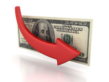 Financial crisis concept 100 dollar with falling red arrow. 3d Stock Photos