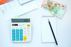Financial crisis. Concept image. Financial report, money and calculator with SOS signal stock photography
