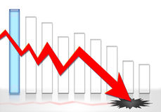 Financial crisis credit crunch. Graphic illustration of stock market crash and financial crisis Stock Images