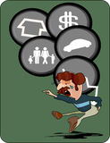Financial crisis debt loan illustration. Depicting a man with financial woes, desperately seeking a loan Stock Image