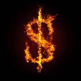 Financial crisis. Dollar in fire Stock Images