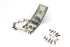 Financial Crisis. Dollar treaded by a boot Royalty Free Stock Photography