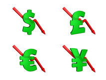 Financial crisis dollars down. Money symbols with red arrow pointing downward isolated with white background Stock Photo