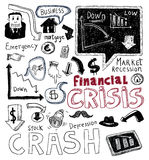Financial crisis doodle, hand drawn illustration. Royalty Free Stock Images