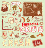 Financial crisis doodle, hand drawn illustration. Stock Images