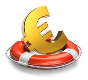 Financial crisis in Europe concept. Golden Euro symbol in lifesaver belt isolated on white background Stock Images