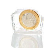 Financial crisis in Europe, inflation, the euro. Euro frozen on a white background Stock Photo