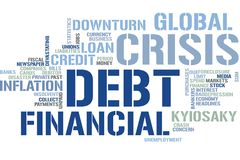 Financial crisis word cloud royalty free stock photo
