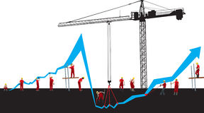 Financial crisis graph. Vector Financial crisis and recover graph  with construction workers and Hoisting crane Royalty Free Stock Photo
