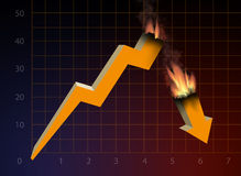 Financial crisis graph. Under the influence of world financial crisis Royalty Free Stock Photography