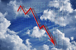 Financial crisis graph decline. A red 3d graph declining over time concept financial decline or credit crisis crunch over grid and clouds with cloudy sky Stock Photos