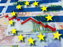 Financial crisis in Greece red arrow Stock Photography