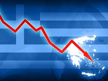 Financial crisis in Greece red arrow - concept news background illustration Stock Photos