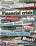 Financial crisis headlines. Background design of newspaper headlines about economic problems Royalty Free Stock Images