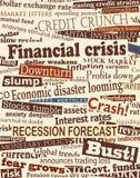 Financial crisis headlines. Background editable  design of newspaper headlines about economic problems Stock Photo