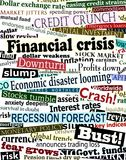 Financial crisis headlines. Background editable vector design of newspaper headlines about economic problems Royalty Free Stock Photo