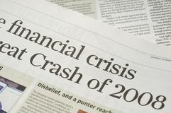 Financial crisis headlines Royalty Free Stock Image
