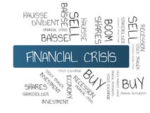 FINANCIAL CRISIS - image with words associated with the topic STOCK EXCHANGE, word cloud, cube, letter, image, illustration Stock Photos