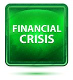 Financial Crisis Neon Light Green Square Button stock illustration