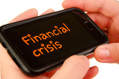 Financial crisis on mobile phone Stock Image