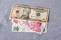 Financial crisis: new dollars over crumpled turkish liras Stock Photo